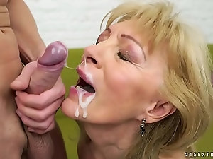 Cumshots of mature with young